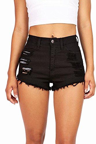 Vibrant Women's Juniors Black Denim High Waist Cutoff Shorts, Medium, Black