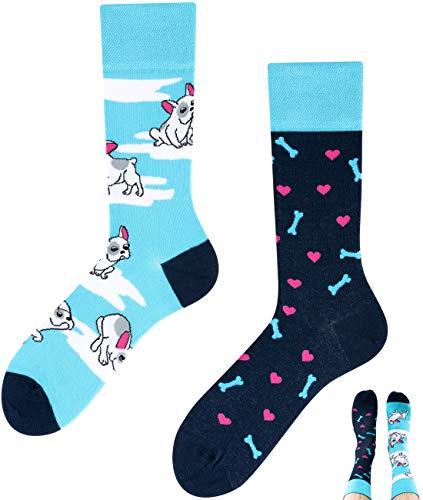 TODO COLOURS Lustige Socken mit Motiv Hund - LOVELY DOG - mehrfarbige, verrückte, bunte Socken für Individualisten Damen Herren (39-42, Lovely Dog)