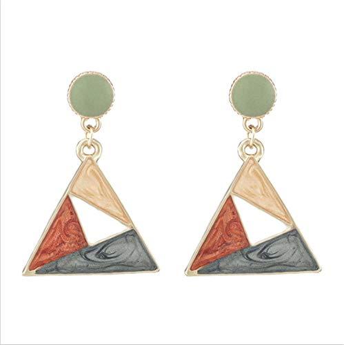 Pendientes mujer S925 plata aguja pendientes creativo contraste cielo estrellado goteo pendientes triángulo pendientes