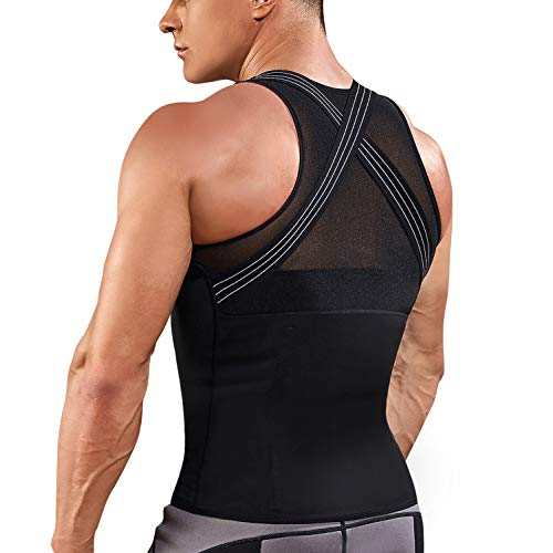 Underwear Men Shirt Tight Tank with Top Upper Back Support Brace Tummy Trimmer Body Shaper Slim Vest (Black with Hook, XL)
