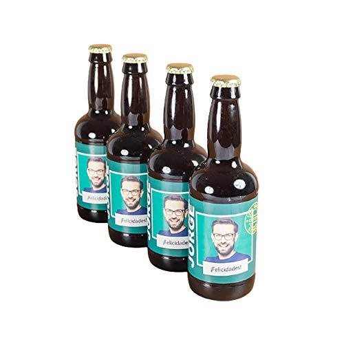 Cervezas personalizadas con foto, nombre y felicitación