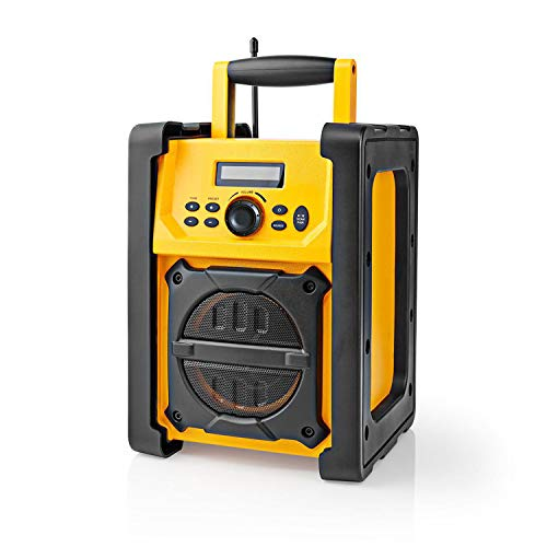 Ex-Pro Job Site FM Radio with Bluetooth, IPX5 Water Resistant Portable Heavy Duty Speaker with AUX In, 20 Presets & Carry Handle, Battery or Mains Powered - Yellow