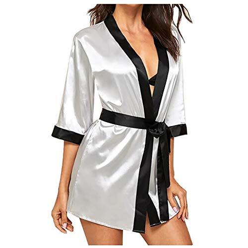 Dasongff dames ochtendjas, zijdezacht, satijn, badjas, nachtgoed, korte nachthemden, pyjama's, kimono Large grijs