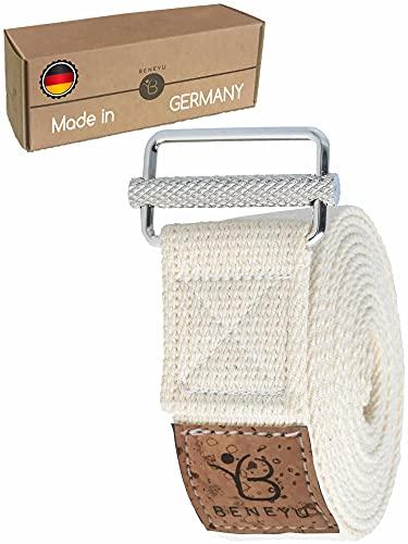 beneyu Innovador Correa Yoga   Largo Cinturon Yoga - Made in Germany   Cómodo Algodón 100% con un Nuevo Cierre Metálico Antideslizante   Yoga & Pilates   250x3,8cm   +PDF