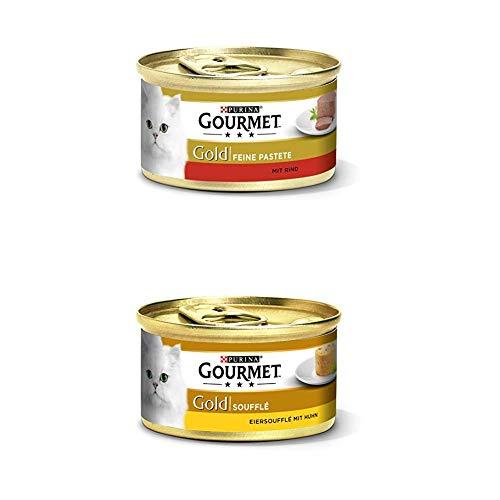 Gourmet Gold Katzenfutter 24er Mix-Pack (2 x 12 x 85g) Pastete mit Rind und Souffle mit Huhn