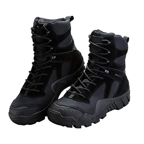 FREE SOLDIER Men's Tactical Boot All Terrain Suede Leather Shoes Outdoor Hiking Military Boots(Black-Upgrade 9 M US)