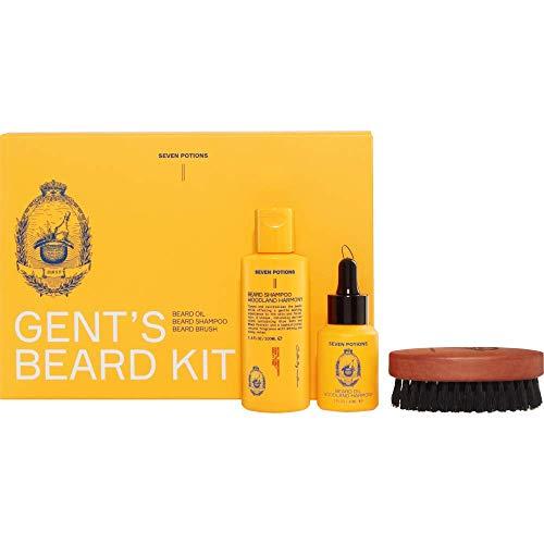 Seven Potions Barba Set. Barba Petróleo, champú de barba y barba Cepillo para el último Kit de cuidado de la barba y gran como un Barba Set de regalo