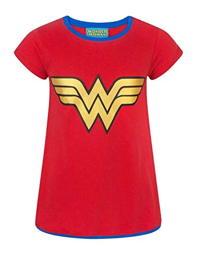Girl's and Teens Wonder Woman Metallic Logo Ringer Neck T-shirt, 5 to 14 years