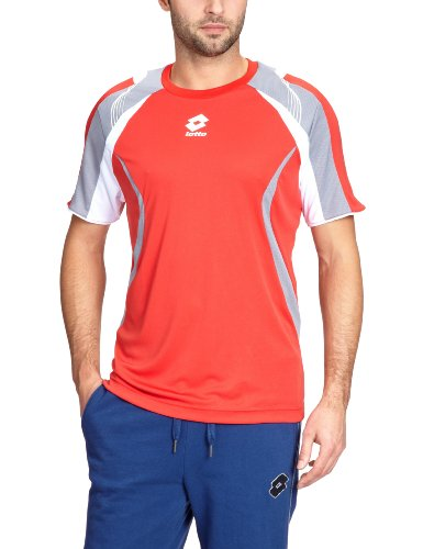 Lotto Sport Hawk Tech T-Shirt à Manches Courtes pour Homme Rouge Orange/Gris l