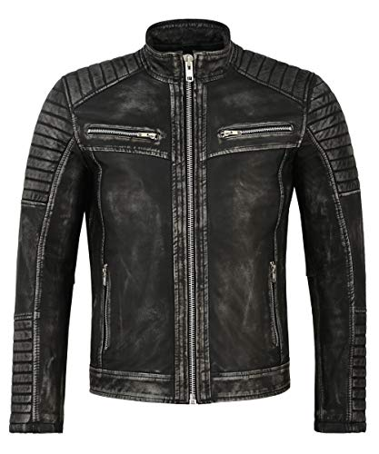 Echte Napa Lederjacke für Herren Black Vintage Quilted Shoulder Biker Style 2565 (L for Chest 101 cm)