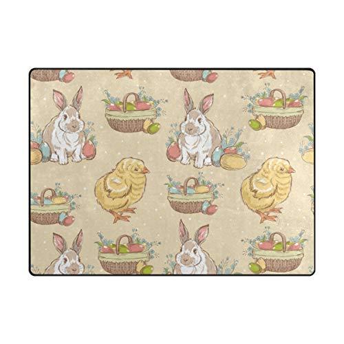 FANTAZIO Tapis de Sol pour Enfants de Pâques Vintage Oeufs Lapin Poussin Tapis Droit Polyester Idéal pour la Cuisine/la Salle de Bain 160 x 122 cm, Polyester, 1, 63 x 48 inch