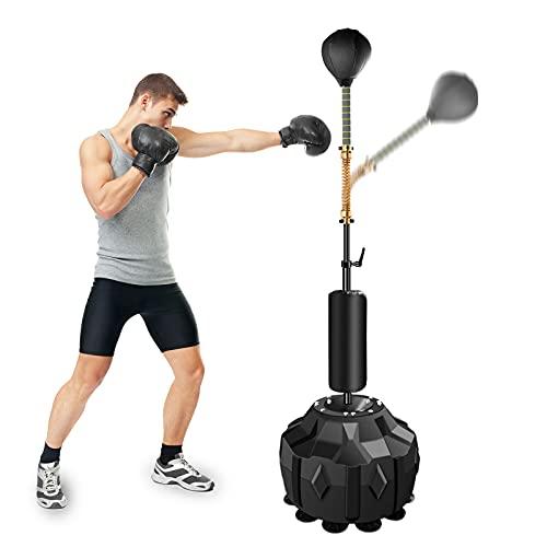 Qdreclod Saco de Boxeo de pie, 185cm Punching Ball Kit de Saco de Boxeo niños Peras de Boxeo con Base Estable y Bomba, Soporte Ajustable de 135-155cm (Negro)
