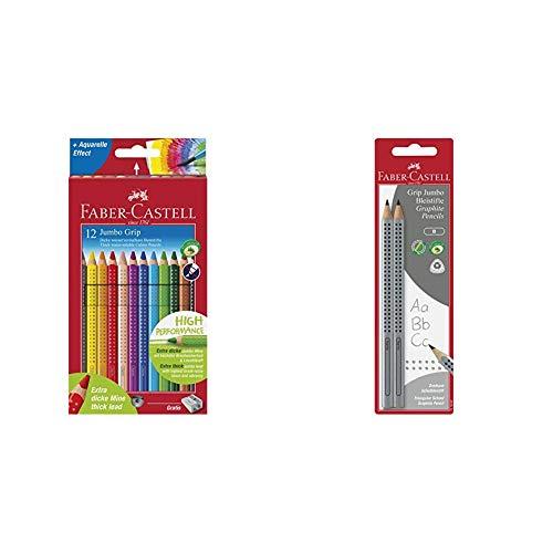 Faber-Castell 110912 - Farbstift Jumbo Grip Kartonetui 12er & 111997-2 Jumbo GRIP Bleistifte, Härtegrad: B, Schaftfarbe: silber