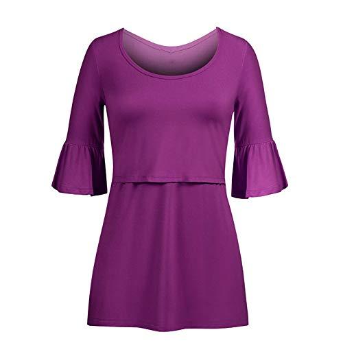 WYxiaobaozi Raglan Ärmar multifunktionella amningskläder, trumpet ärmar moderskapskläder skjorta t-shirt gravid kvinnor matning kortärmad tröja, lila, S