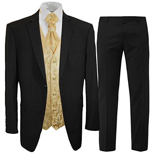 Paul Malone Anzug Hochzeitsanzug Set 7tlg schwarz + Hochzeitswesten Set Creme Gold + Hochzeitshemd weiß