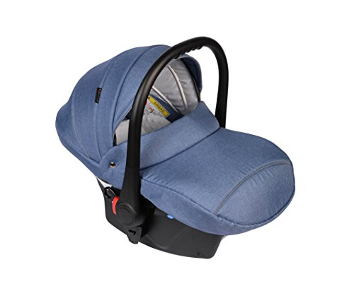 Clamaro Babyschale Auto \'JUNO black\' ultraleicht 2,95 kg mit Anti-Shock Schaumstoff, Gruppe 0+ (0-13 kg) ECE-R 44/04 - Baby Autositz inkl. Sonnenverdeck und Fußabdeckung - Denim Blau Leinen