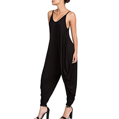 Dreamskull Women's Punk Spaghetti Strap Jumpsuit V Neckline Comfy Loose Harem One Piece Romper(Black)
