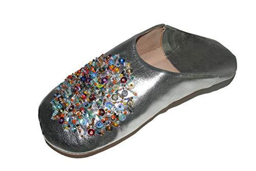 Marrakech Accessoires Orientalische Schuhe Babouche Hausschuhe Pantoffel Slipper aus Marokko - Damen - 905363-0034, Schuhgrösse:41
