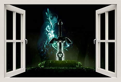 Unified Distribution Legend of Zelda Schwert - Wandtattoo mit 3D Effekt, Aufkleber für Wände und Türen Größe: 92x61 cm, Stil: Fenster