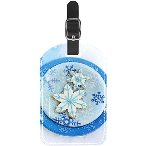 Winterhandschuh Schal Blau Kofferanhänger Nettes personalisiertes Leder mit Schlaufe für kasmonale Reisekoffertasche für Damen, Herren und Kinder 11.4x7.1cm