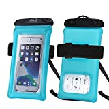 PSHYX TPU Floating Waterproof Phone Case,Cell Phone Dry Bag, Universal Waterproof Phone Pouch with Arm Band and Lanyard for iPhone 11 12 Pro Max xr 6 7 8Plus Samsung Galaxy S20 S20+ S10(Blue,1pack)