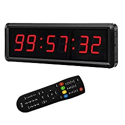 BTBSIGN LED Digital Countdown Wall Clock Fitness Timer Stopwatch for Gym (1.5inch Digital High)