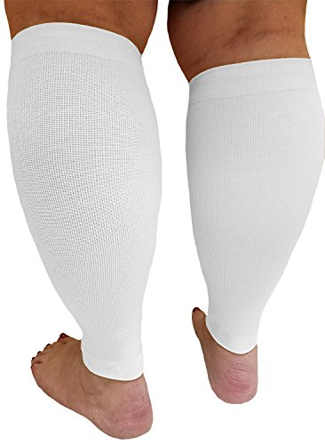 Compression Calf Sleeves Extra Wide - Soothing Gradient Support with Comfy Cuffs, white.