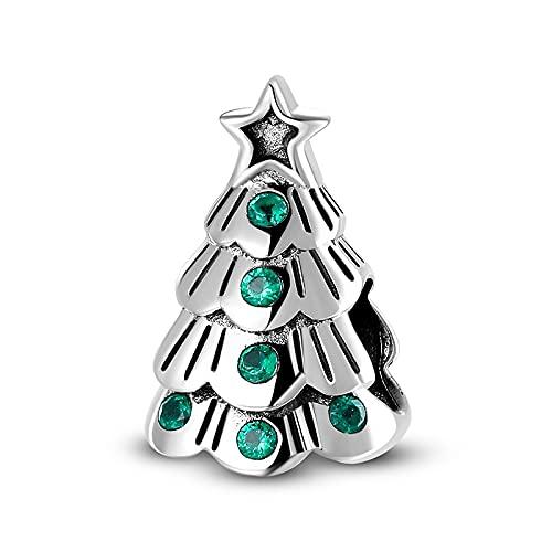 LIJIAN DIY 925 Joyería Exquisita De Plata Esterlina Exquisito Árbol De Navidad Adecuado para Collar Pulsera Joyería Hacer Regalos