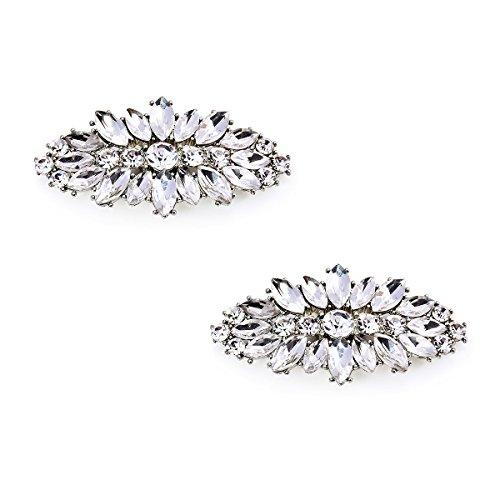 Elegantpark AW Damen Party Schmuck Schuhe Accessoires Clutch Tasche Hut Kleider Blatt Strass clips 2 Stück Silber