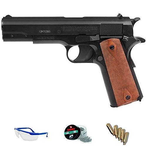 GI 1911 blowback Crosman Pack Pistola de Aire comprimido (CO2) Y balines de Acero (perdigones o Bolas BB's) Cal. 4.5mm. Réplica Tipo Colt <3,5 Julios