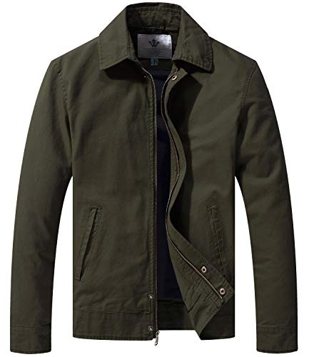 WenVen Men's Young Boys Fashion Autumn Cargo Twill Modern Jacket Army Green M