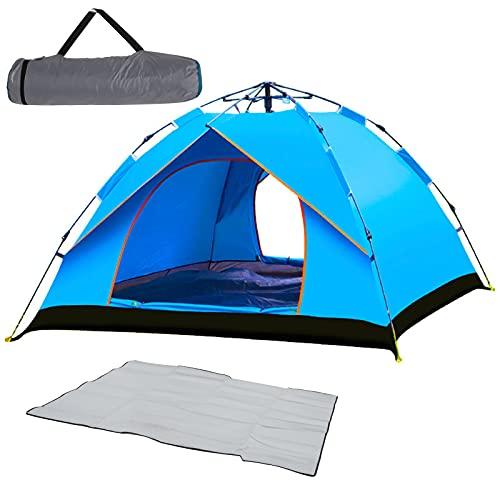 Mivnue - Tienda de campaña automática instantánea para 1-2 personas, portátil, impermeable, protección UV, para camping, senderismo, montañismo, color azul