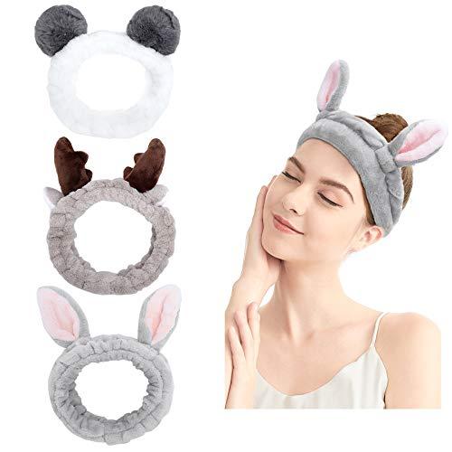 Haarband für Make Up - 3 Stück Damen Kosmetisches Stirnband Elastische Korallen Fleece Haarbänder für Waschen Gesicht Spa Yoga Sport Beauty