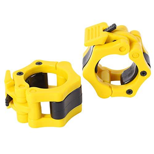Fairey Abrazaderas olímpicas de 50 mm de liberación rápida  par de bloqueo para barras olímpicas de 2 pulgadas Pro bloqueos para placas de cuello para entrenamiento de levantamiento de fitness Yellow