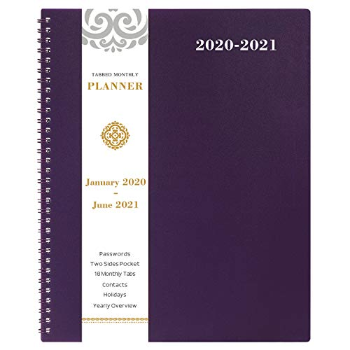 2020-2021 Monthly Calendar Planner - 18-Month Planner with Tabs & Pocket & Label, Contacts and Passwords, 8.5