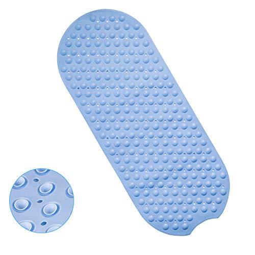 QZT - Tappetino antiscivolo per vasca da bagno, in TPE con 247 ventose, colore: Blu