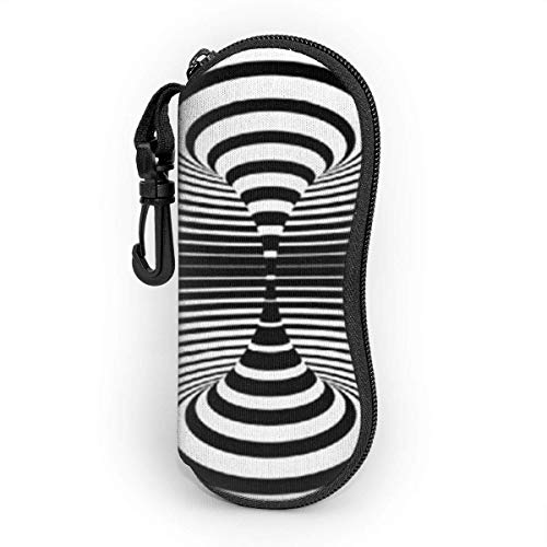 Abstract Black And White Spiral Sunglasses Soft Case With Belt Clip,Light Soft Protective Neoprene Zipper Eyeglass Pouch,17cm×8cm