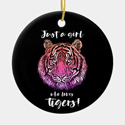 McC538arthy Personalized Christmas Memorial Ornament, Just A Girl Who Loves Tigers Holiday Ceramic Keepsake Memorial Gifts Sympathy Gift Xmas Hanging Decor 3''