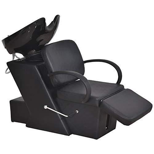 BarberPub Ceramic Bowl Shampoo Chair Adjustable Backwash Sink Barber Chair for Salon Beauty Spa Unit Station 9051