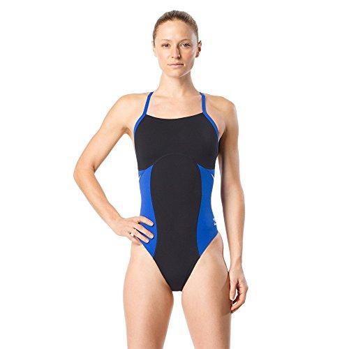 Speedo Women's Swimsuit One Piece Endurance+ Flyback Color Block Adult Team Colors Spark Black/Blue, 32