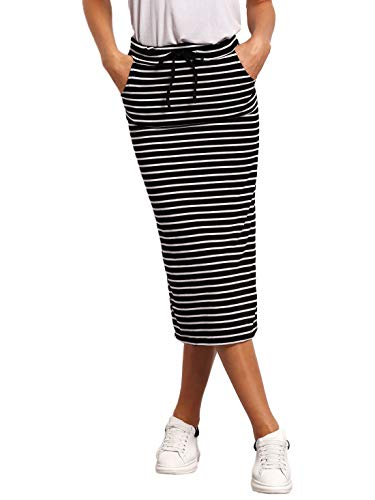 SheIn Women's Striped Drawstring Mid Waist Casual Long Pencil Skirt Black and White