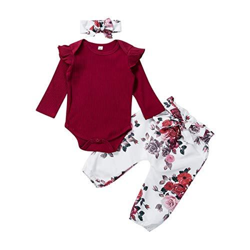 Livingsenburg Baby Mädchen Langarm Red Romper Floral Hose Stirnband 3 Stück Kleinkind Kurzarm Tops Hosen Outfits Set für 0-24 Monate (3-6Monate, F-Rot)