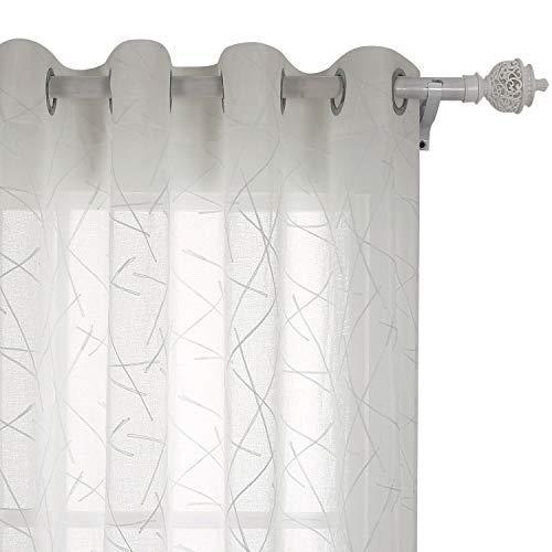 Deconovo Tende Trasparenti in Voile Ricamate con Anelli Finestre Soggiorno 140x280cm Beige 2 Pannelli