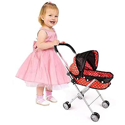 Cochecito de muñecas Cochecito con muñeco de bebé y accesorios Cochecito de muñecas Plegable Baby Hadas para Carrito de bebé Color Rosa