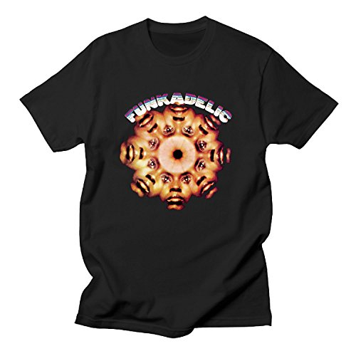 BOguan Mens T-Shirts Funk Seven adelic Faces Short Sleeve Tees Large Black