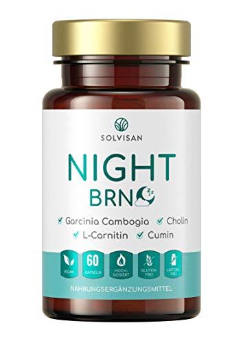 SOLVISAN NIGHT BRN ohne Koffein für den Fettstoffwechsel - mit Garcinia Cambogia, L-Carnitin, Cholin und Cumin - 60 Kapseln