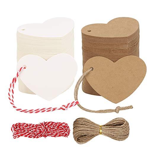 HAKOTOM 400 stk Herz Geschenkanhänger Kraftpapier Geschenk Anhänger Herz Etiketten Tags Kraftpapieranhänger Kraftpapiertags mit Herz und 20m Jute Schnur für Weihnachten Geschenke Hochzeit Valentinstag