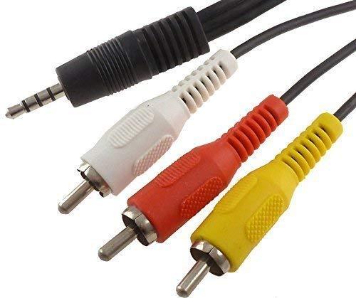 ACEMAX - Cable de audio a RCA (1,2 m, conector macho de 3,5 mm a conector RCA (vídeo/audio L/R) para MX MXQ MXQ PRO M8 M8S GBOX Q2 Droidbox AV puerto Android TV Box
