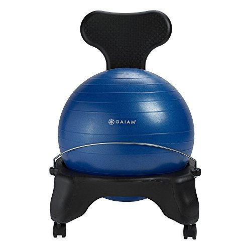 Gaiam Classic Balance Ball Chair – Exercise Stability Yoga Ball Premium Ergonomic Chair for Home and Office Desk with Air Pump, Exercise Guide and Satisfaction Guarantee, Blue