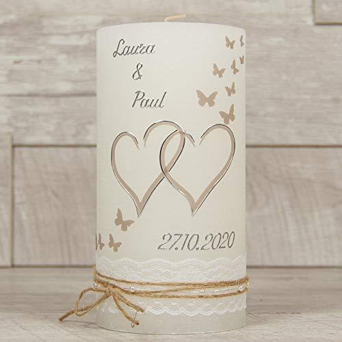 meinkerzenshop Hochzeitskerze Rustik ZEDER Traukerze mit Namen und Datum, individuell, persönlich u. handgemacht 17533